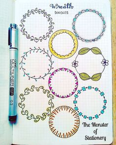 Pretty wreath doodles for your planner or bullet journal. Great for highlighting a new month or important information on a daily or weekly page. Bullet Journal Inspo, Bullet Journal Junkies, Bullet Journal Ideas Pages, Journal Pages, Journals, Circle Doodles, Journal Layout, Doodle Drawings, School