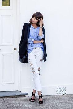 Fashion staples: black blazer, blue button down shirt and boyfriend jeans