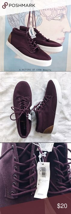 NWOT Old Navy Martin Canvas High Tops Sneakers Check out these cute-as-heck maroon canvas sneaks from Old Navy!! Never worn, new with original tags. I love the detailing of the faux Lester on the heels and as a trim around the tongue - these are so versatile and can easily be dressed up or down! Old Navy Shoes Sneakers