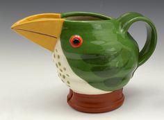 Green Jugbird with Orange Bill 2016 Gillian McMillan Slip-painted earthenware Earthenware, Stoneware, My Images, Mugs, Orange, Tableware, Green, Dinnerware, Tumblers