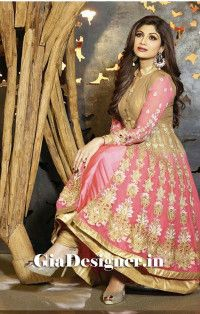 Shilpa Shetty Biege Pink Georgious Anarkli Bollywood Replica Suit