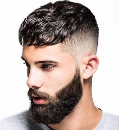 Hairstyles for men - men's Hairstyles - Fade hairstyle - beard styles Haircut For Thick Hair, Short Wavy Hair, Fade Haircut, Wavy Bangs, Mens Hairstyles Fade, Haircuts For Men, Simple Hairstyles, Hairstyles 2018, Korean Hairstyles