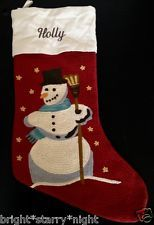 POTTERY BARN CREWEL EMBROIDERED CHRISTMAS STOCKING *HOLLY* SNOWMAN RED GIFT NEW