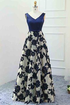 Navy blue satin top flowery prom dress, formal dress, homecoming dress 2017