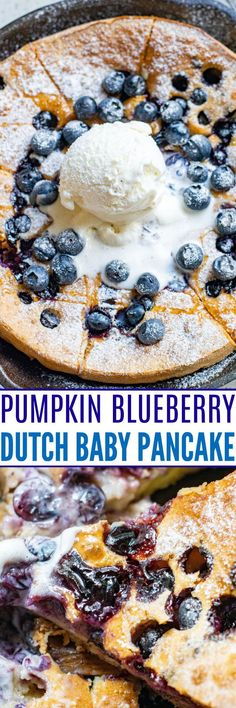 Pumpkin Blueberry Dutch Baby Pancake – One big oven-baked pancake so there's nothing to stand around waiting to flip!! The batter is made in the blender making this the EASIEST pancake ever! Gluten-free and dairy-free options provided!! Pancakes No Milk, Baby Pancakes, Chocolate Chip Pancakes, Pancakes Easy, Pancakes From Scratch, How To Make Pancakes, Atkins Desserts, Dutch Baby Pancake, Waffle Recipes