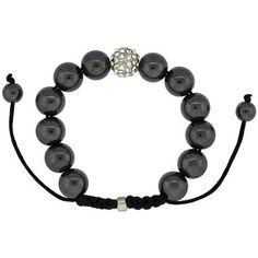 Crystal Disco Ball Adjustable Unisex Macrame Bead Bracelet w/ Hematite Beads, 1/2 in. (12.5mm) wide Sabrina Silver. $29.00. Save 52% Off!