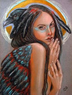 Crow Woman Native American Pagan Goddess 5x7 art by MoonSpiralart, $9.00