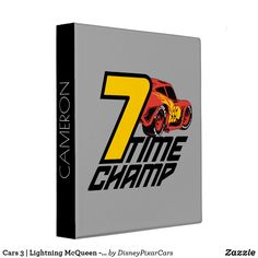 3 Ring Binder - Cars 3, Lightning McQueen - 7 Time Champ . . . . . .       Easy to customise to your own label or name on the spine.. .   Quality Binder Made in U.S.A. . . . See my Board for More Cars 3 Binders , and water bottles, t-shirts and more!