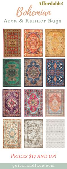 In my quest for the perfect rug, I found these Boho style area and runner rugs for amazing prices!
