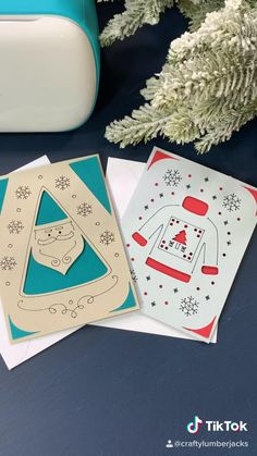 Diy Christmas Cards, Christmas Crafts For Kids, Holiday Cards, Cricut Craft, Cricut Ideas, Writing Machine, Last Minute Gifts, Paper Cards, Card Designs