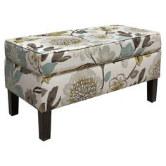Floral-print storage bench with a pine wood frame and foam cushioning. Handmade in the USA.    Product: Storage benchCons...