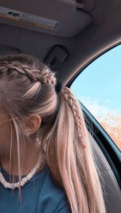 Braided Ponytail Hairstyles, Teen Hairstyles, Pretty Hairstyles, Hairstyle Ideas, Wedding Hairstyles, Braid In Ponytail, Running Hairstyles, Athletic Hairstyles, Easy Hairstyles For Medium Hair For School