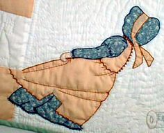 """Bonnet Girls by Helen R Scott.  The """"Friendly Quilters """" quilt/wall hanging was a semifinalist in a content sponsored by a national quilt magazine. Although no pattern is available for the patchwork design, all girls and variations on the MEG pattern are included.  4 of 6"""