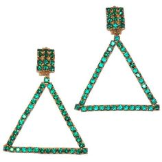 Preowned Go Go 1960's Emerald Green Rhinestone Triangle Clip On... ($150) ❤ liked on Polyvore featuring jewelry, earrings, green, lightweight earrings, emerald green jewelry, green jewelry, rhinestone jewelry and evening earrings