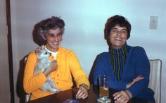 pic 33.  Marg Evens(Derek's 2nd couzin John's wife) and Hannelies. This is Hannelies's Partying period complete with drink and cigarette.  1971.  Her Age: 43