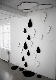 DIY Inspiration Clouds and Raindrops made from Cardboard.
