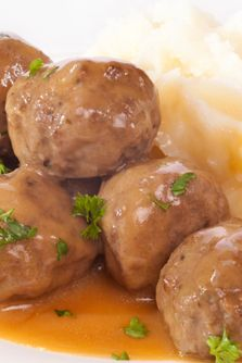 Meat balls with Gjetost Sauce and other recipes from the Sons of Norway.