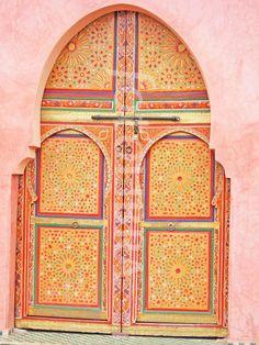Africa | Painted doors to a Marrakesh Riad.  Morocco | © David John Williams
