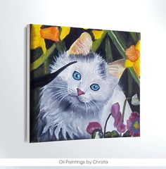 Miniature cat  Art-cat mini painting by OilpaintingsChrista
