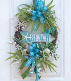 Beach Wreath, Greenery Wreath, Sassy Doors Wreath, Summer Beach Wreath, Grapevine Wreath, Front Door Wreath,