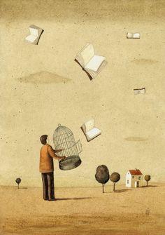 BookCrossing / Liberando libros (ilustración de Mariusz Stawarski)
