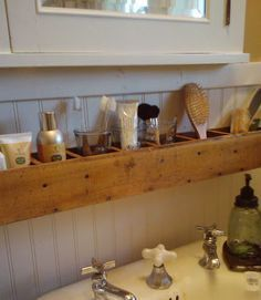 DIY Mason Jar Storage - Pallet Wood Bathroom Storage - Click Pic for 44 Easy Organization Ideas for the Home