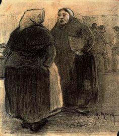 """""""Gentecilla de Barrio, 1894"""". Carbón y lápiz Conté. Gabinete de Dibujos y Grabados del MNAC, Barcelona. España."""