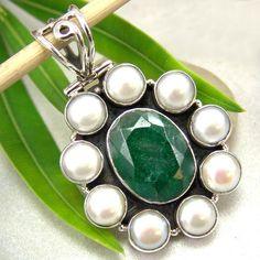 Emerald pendant pearls natural gemstone silver jewelry :  jewelry genuine gemstone emerald gems