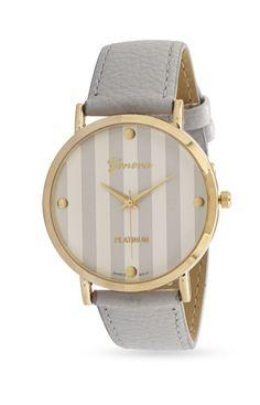 Grey Leather Stripe Fashion Watch