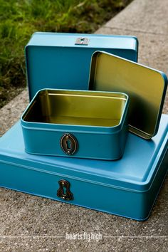Set of 3 Teal Blue Upcycled Repurposed Metal Storage Tins with Brushed Nickel Silver Keyhole for Desk Stuido Office Dorml by HeartsFlyHigh.