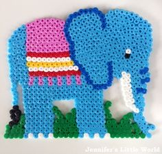 Blue Hama bead elephant design