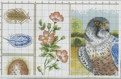 Russin cross stitch. Gorgeous and a little unexpected combination of feathers, flowers and... The bird of prey the feathers would belong to. Lovely.