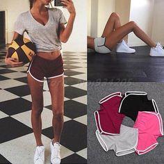 Novo 2016 Mulheres Mistura de Algodão Verão esporte shorts 4 cores contraste encadernação side dividir mulheres cintura elástica shorts casual feminino