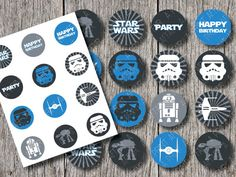 Star Wars Cupcake Toppers Birthday Party Printable Decorations, Space, blue, grey, and white  (INSTAND DOWNLOAD) on Etsy, $5.00