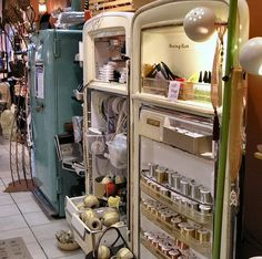 Old refrigerators used for merchandising and display