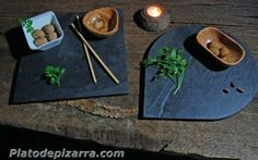 Handmade slate plates.