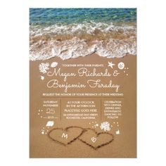 #Hearts in the Sand Summer Beach Wedding Card - #beach #wedding #invitations #weddinginvitations #card #cards #celebration #beautiful #summer #summerwedding #savethedate #island #heat #love