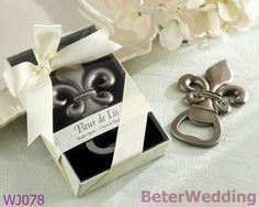 WJ078_Fleur de Lis Pewter-Finish Bottle Opener Wedding Decoration and Wedding Gift, Wedding Souvenir  Useful Wedding Gifts, Pratical Party Favors at BeterWedding, Shanghai Beter Gifts Co Ltd. http://www.aliexpress.com/store/512567