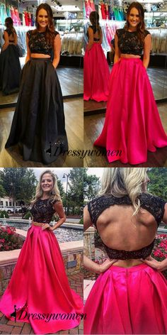 Sexy Backless Floor-Length Red Two Piece Prom Dress With Appliques Sexy Backless Floor-Length Prom Dresses 2016, Backless Prom Dresses, Cheap Prom Dresses, Bridesmaid Dresses, Nice Dresses, Formal Dresses, Red Two Piece, Dream Prom, Beautiful Outfits