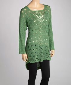 Take a look at this Teal Crochet Linen-Blend Tunic by Pretty Angel on #zulily today!