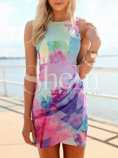 Blue Sleeveless Floral Print Dress -SheIn(Sheinside) Mobile Site