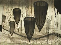 Akiko Taniguchi. Midnight Creation, 2003. Etching, chine colle. Edition of 15. 18 x 24 inches.