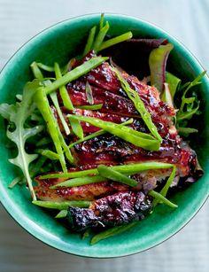 Nigel Slater - Pork chops, mint, mangetout and spring leaves Pork Ribs, Pork Chops, Pork Recipes, Cooking Recipes, Sainsburys Recipes, Nigel Slater, Carnivore, Healthy Summer Recipes, Pork Dishes
