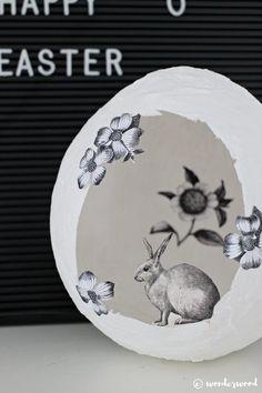 épinglé par ❃❀CM❁✿diy gips-egg med papirklipp // diy plaster egg with clip art | wonderwood