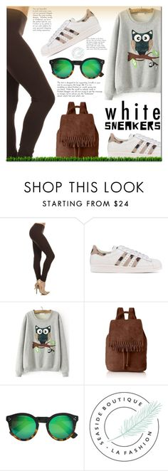 """""""Bright White Sneakers"""" by cherry-bh ❤ liked on Polyvore featuring adidas Originals, Liebeskind, Illesteva, polyvorecontest, whitesneakers and seasideboutique"""