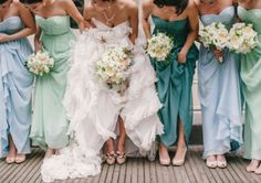 Different shades of blue and green for bridesmaids dresses. // Via A Circular Life. #bridesmaids #dresses #wedding