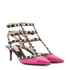 Valentino - Rockstud patent leather kitten-heel pumps - $1145