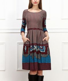 Loving this Burgundy & Blue Tapestry Scoop Neck Dress on #zulily.  Casual but classy.