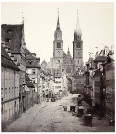 The Lorenzkirche church in Nürnberg, 1862. The photos recall the aesthetic medieval grandeur that many German cities lost in World War II.