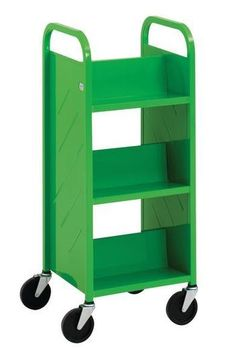 Library cart would make a cute way to organize children's books in the waiting area! If the wheels locked :)